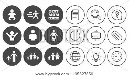 People, family icons. Maternity, person and baby signs. Best mom, father and mother symbols. Document, Globe and Clock line signs. Lamp, Magnifier and Paper clip icons. Vector