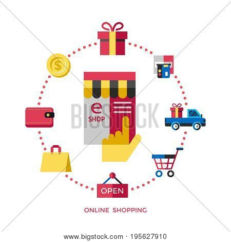 Digital vector white online shopping icons with drawn simple line art info graphic, presentation with money, commerce and economy elements around promo template, flat style