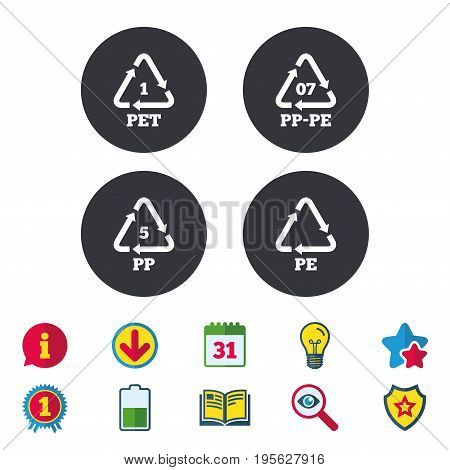 PET 1, PP-pe 07, PP 5 and PE icons. High-density Polyethylene terephthalate sign. Recycling symbol. Calendar, Information and Download signs. Stars, Award and Book icons. Light bulb, Shield and Search