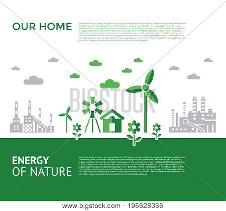 Digital vector green city ecology icons with drawn simple line art info graphic, presentation with recycle, windmills and alternative energy elements around promo template, flat style