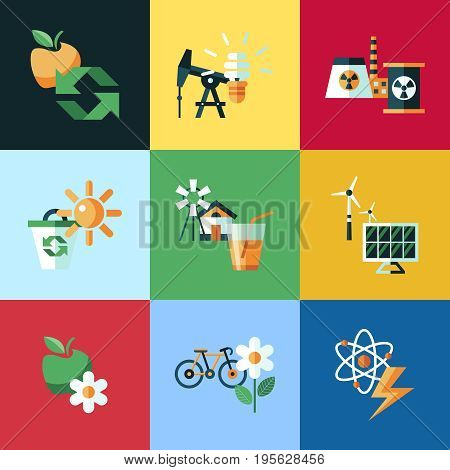 Digital vector red ecology icons with drawn simple line art info graphic, presentation with recycle, production and alternative energy elements around promo template, flat style