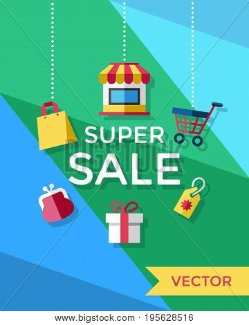 Digital vector yellow blue green shopping super sale icons with drawn simple line art info graphic, presentation with money, shop and gift elements around promo template, flat style