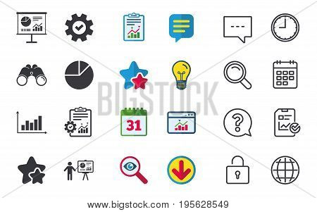 Diagram graph Pie chart icon. Presentation billboard symbol. Supply and demand. Man standing with pointer. Chat, Report and Calendar signs. Stars, Statistics and Download icons. Vector