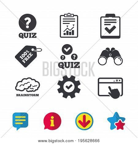 Quiz icons. Human brain think. Checklist with check mark symbol. Survey poll or questionnaire feedback form sign. Browser window, Report and Service signs. Binoculars, Information and Download icons
