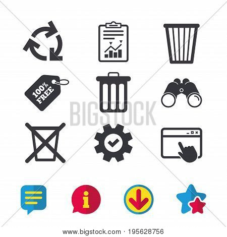 Recycle bin icons. Reuse or reduce symbols. Trash can and recycling signs. Browser window, Report and Service signs. Binoculars, Information and Download icons. Stars and Chat. Vector