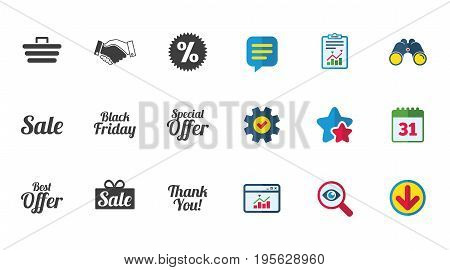 Sale discounts icon. Shopping, handshake and black friday signs. Special offer symbols. Calendar, Report and Download signs. Stars, Service and Search icons. Statistics, Binoculars and Chat. Vector