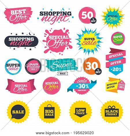 Sale shopping banners. Sale speech bubble icon. Black friday gift box symbol. Big sale shopping bag. Low price arrow sign. Web badges, splash and stickers. Best offer. Vector