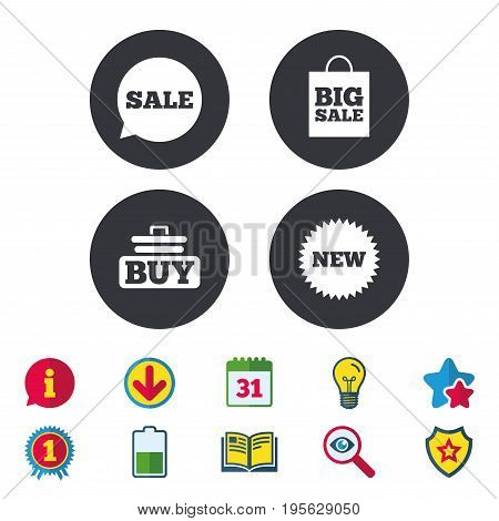 Sale speech bubble icon. Buy cart symbol. New star circle sign. Big sale shopping bag. Calendar, Information and Download signs. Stars, Award and Book icons. Light bulb, Shield and Search. Vector