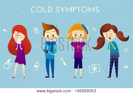 Sick child with fever, illness . Boy and girl with sneeze, high temperature, sore throat, heat, cough, headache, Vector illustration cartoon style. Sickness child with disease. flu cold symptoms