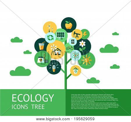Digital vector green ecology icons tree with drawn simple line art info graphic, presentation with recycle, flowers and alternative energy elements around promo poster template, flat style