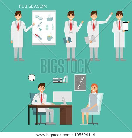 Group of doctors characters and hospital staff. Medical team concept in flat design. Healfthcare concept. Medic male doctor with patient in the office of clinic.