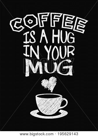 Quote Coffee Poster. Coffee Is A Hug In Your Mug. Chalk Calligraphy Style. Shop Promotion Motivation