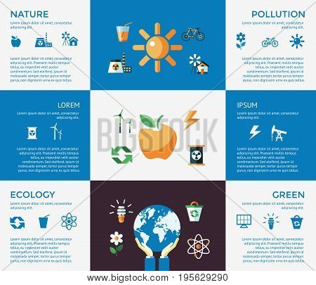 Digital vector blue ecology icons with drawn simple line art info graphic, presentation with recycle, production and alternative energy elements around promo template, flat style