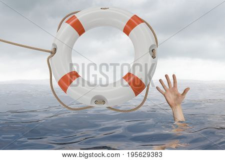 Man Is Drowning In Ocean And Is Catching Life Buoy.