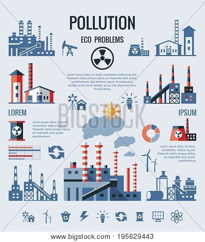 Digital vector blue factory pollution icons with drawn simple line art info graphic, presentation with nuclear plant, smoke, environment and energy elements around promo template, flat style