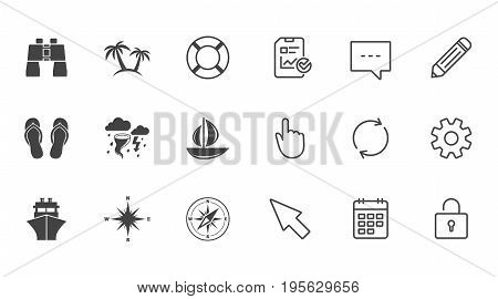 Cruise trip, ship and yacht icons. Travel, lifebuoy and palm trees signs. Binoculars, windrose and storm symbols. Chat, Report and Calendar line signs. Service, Pencil and Locker icons. Vector