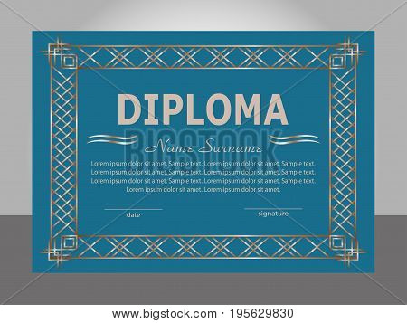 Retro vintage diploma template. Elegant background. Vector illustration.