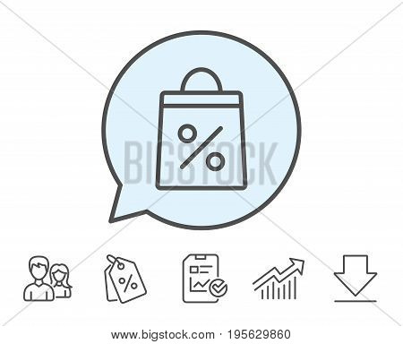 Shopping bag with Percentage line icon. Supermarket buying sign. Sale and Discounts symbol. Report, Sale Coupons and Chart line signs. Download, Group icons. Editable stroke. Vector