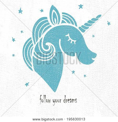 Cute template with blue unicorn. Vector illustration.  It can be used for invitation, birthday, mother's day, St. Valentine's Day, greetings, party, sweet dreams card.