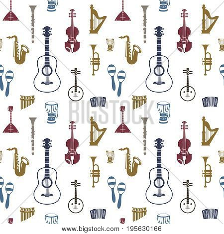 Digital vector blue red music instruments icons with drawn simple line art info graphic, seamless pattern, presentation with guitar, piano, drums and sound elements around promo template, flat style