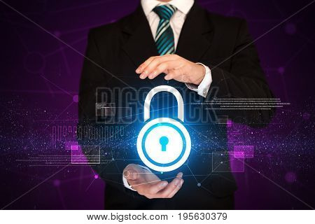Businessman with security concept in his hands