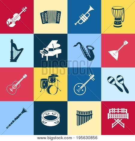Digital vector green red yellow music instruments icons with drawn simple line art info graphic, presentation with guitar, piano, drums and sound elements around promo template, flat style