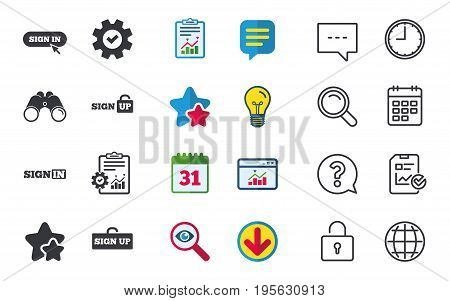 Sign in icons. Login with arrow, hand pointer symbols. Website or App navigation signs. Sign up locker. Chat, Report and Calendar signs. Stars, Statistics and Download icons. Question, Clock and Globe