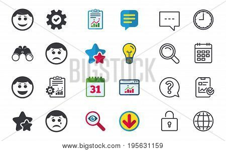 Circle smile face icons. Happy, sad, cry signs. Happy smiley chat symbol. Sadness depression and crying signs. Chat, Report and Calendar signs. Stars, Statistics and Download icons. Vector