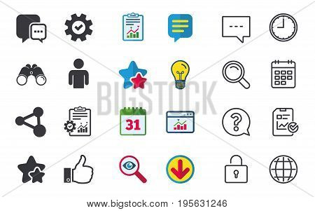 Social media icons. Chat speech bubble and Share link symbols. Like thumb up finger sign. Human person profile. Chat, Report and Calendar signs. Stars, Statistics and Download icons. Vector