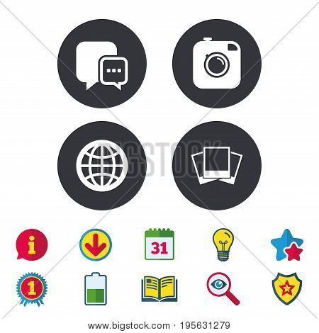 Social media icons. Chat speech bubble and world globe symbols. Hipster photo camera sign. Photo frames. Calendar, Information and Download signs. Stars, Award and Book icons. Vector