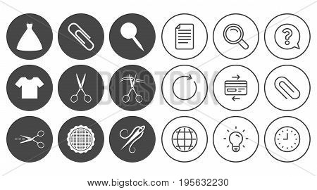 Tailor, sewing and embroidery icons. Scissors, safety pin and needle signs. Shirt and dress symbols. Document, Globe and Clock line signs. Lamp, Magnifier and Paper clip icons. Vector