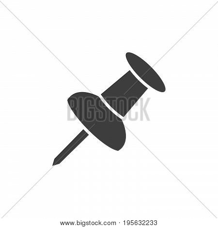 Isolated black pushpin on a white background