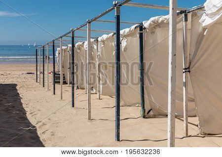 Tents on the beach of Les Sables d'Olonne beach in the France west coast
