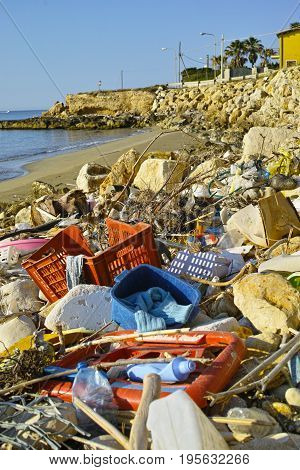 Great Environmental And Ecological Problem, Waste And Rubbish In World Ocean Water And On The Beach