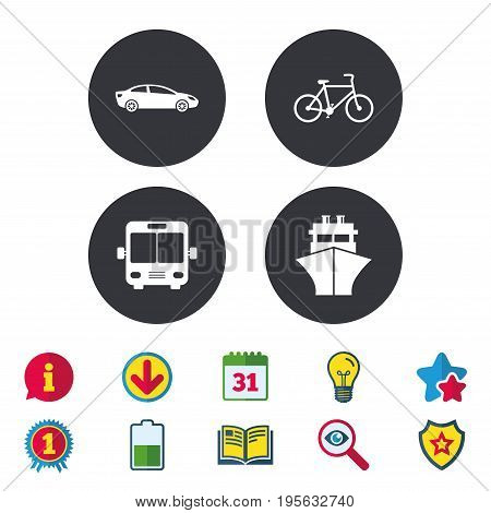 Transport icons. Car, Bicycle, Public bus and Ship signs. Shipping delivery symbol. Family vehicle sign. Calendar, Information and Download signs. Stars, Award and Book icons. Vector