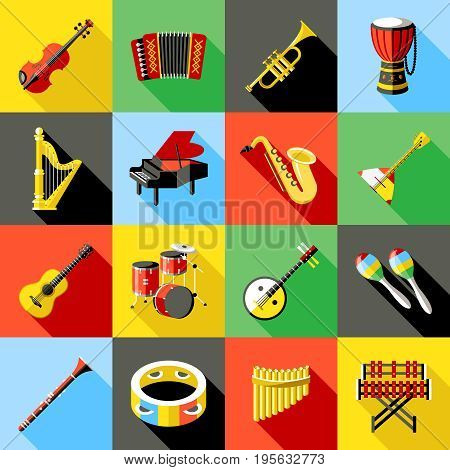 Digital vector green music instruments icons with drawn simple line art info graphic, presentation with guitar, piano, drums and sound elements around promo template, flat style