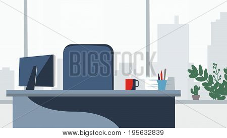 Office desk background Vector. Workplace business style. Table and computer. Flat style illustrations