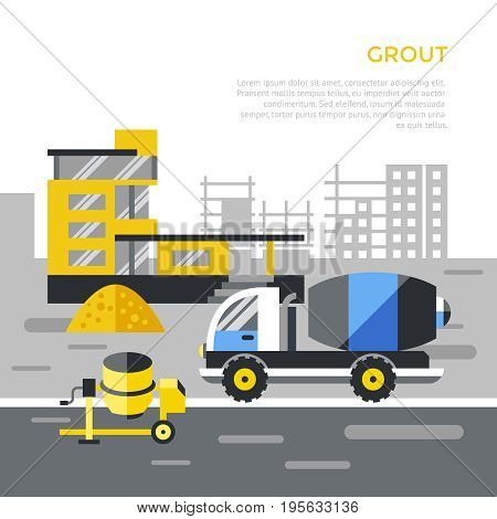 Digital vector black construction building tracks icons with drawn simple line art info graphic, presentation with crane, road, grout, excavator and cement elements around promo template, flat style