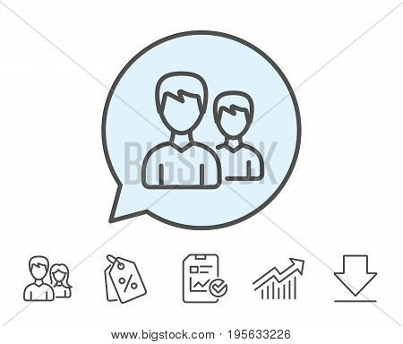 User line icon. Couple or Group sign. Male Person silhouette symbol. Report, Sale Coupons and Chart line signs. Download, Group icons. Editable stroke. Vector