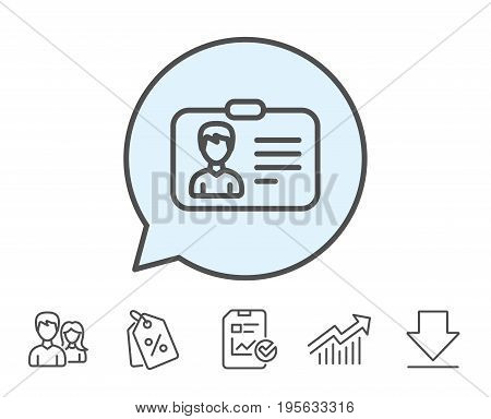 ID card line icon. User Profile sign. Male Person silhouette symbol. Identification plastic card. Report, Sale Coupons and Chart line signs. Download, Group icons. Editable stroke. Vector