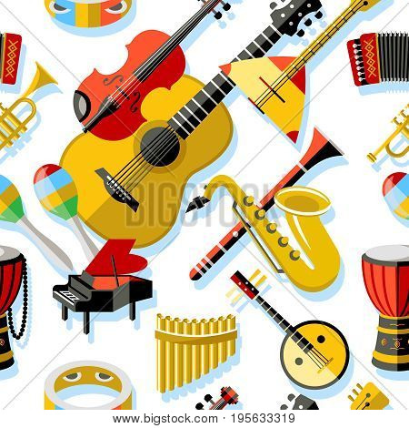 Digital vector yellow red music instruments icons with drawn simple line art info graphic, seamless pattern, presentation with guitar, piano, drums and sound elements around promo template, flat style