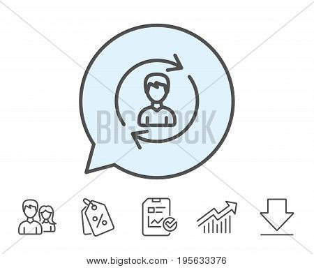 Human Resources line icon. User Profile sign. Male Person silhouette symbol. Refresh or Update sign. Report, Sale Coupons and Chart line signs. Download, Group icons. Editable stroke. Vector