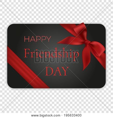 Happy friendship day card with red bow and ribbon, vector illustration