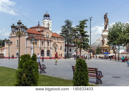 SKOPJE, REPUBLIC OF MACEDONIA - 13 MAY 2017: Orthodox Church of Church St. Demetrius and Philip II of Macedon Monument in Skopje, Republic of Macedonia