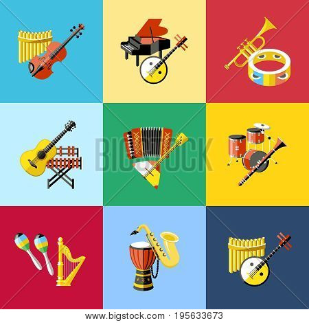 Digital vector blue red music instruments icons with drawn simple line art info graphic, presentation with guitar, piano, drums and sound elements around promo template, flat style
