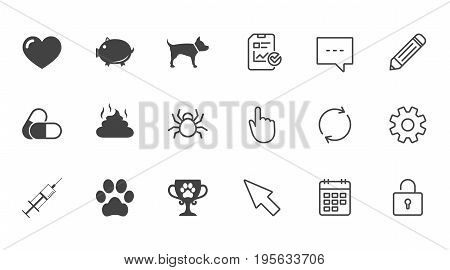 Veterinary, pets icons. Dog paw, syringe and winner cup signs. Pills, heart and feces symbols. Chat, Report and Calendar line signs. Service, Pencil and Locker icons. Click, Rotation and Cursor