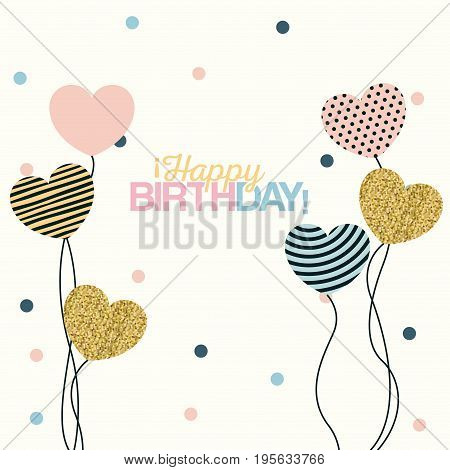 white dotted background with decorative balloons in the shape of a heart with text happy birthday vector illustration