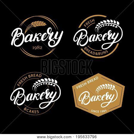 Set of Bakery hand written lettering logo, label, badge, emblem. Vintage retro style. ar of wheat. Isolated on background. Vector illustration.
