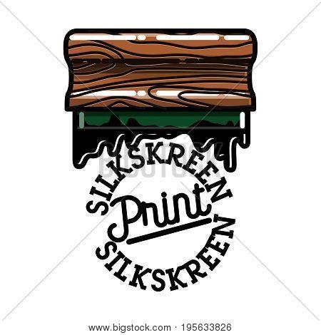 Color vintage silkskreen print emblem. Vector illustration, EPS 10