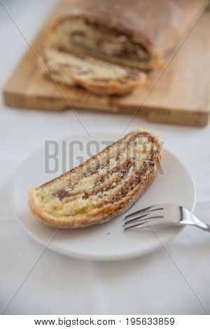 home made yeast strudel filled with hazelnuts